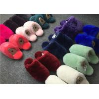 Wholesale Dyed Colors Indoor Womens Fur Lined Slippers Soft Sole Moisture Absorption from china suppliers