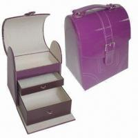 Quality Elegant Cosmetic Box with PU Leather Exterior in Purple, OEM & ODM are Welcome for sale