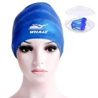 Quality Blue Ear Protect Durable Silicone Swim Caps For Long Hair , Ladies Swimming Cap for sale