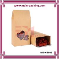 Wholesale Customized brown kraft paper bag for food with heart-shape clear window ME-KB002 from china suppliers