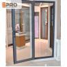 Long Life Span Tempered Glass Door , Double Swing Modern Aluminium Doors for sale