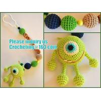 Wholesale personalized pacifier clip,natural wooden beads dummy clip,pacifier holder,soother clip with amigurumi MaikVazovski from china suppliers