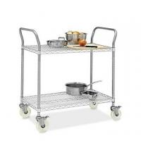 China Restaurant Wire Utility  Cart , 2 - Layer Wire Mesh Rolling Cart 30W X 14D X 38H for sale