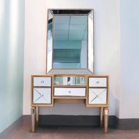 China Unique design bedroom furniture sparkly mirrored dresser 5 drawers dressing table with round stool on sale