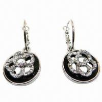 Wholesale Rhinestone Drop Earrings in Flower Design from china suppliers