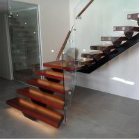 Wholesale Hot Sale Modern Internal Staircase Walnut Stair Treads Staircase with Glass Railing from china suppliers