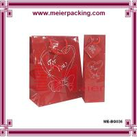 Wholesale Glossy printing luxury red shopping bags with paper hang tag ME-BG036 from china suppliers