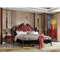 Buy cheap European style Classic design furniture of Leather headboard Bed used Beech wood from wholesalers