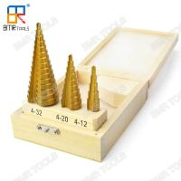 Wholesale Hot Sells HSS 4241 Ti-Coating Straight Step Drill Bit Set-3pcs set packed with wooden box-4-12mm/4-20mm/4-32mm from china suppliers