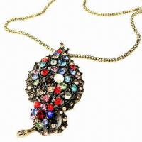 Wholesale Fashionable Pendant Necklace, Leaf-shaped Design with Multicolor Rhinestone Decorated from china suppliers