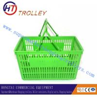 Wholesale Customized Green Hand Held Plastic Shopping Basket With Flat Double Handle 25L from china suppliers