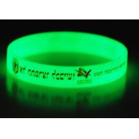 Silicone Glow In The Dark Wristbands / Bracelets With 1 Color Silk Printed for sale