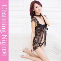 Wholesale Nylon / Polyester Babydoll Sexy Lingerie Nightwear sleeping dresses With Lace Necklet from china suppliers