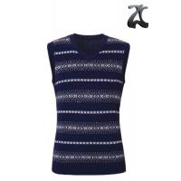 Wholesale Navy Blue Men's Vest Sweater Contrast Color Sleeveless V Neck Cotton for Winter from china suppliers