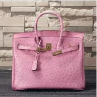 Wholesale high quality 35cm pink ostrich print cowhide leather handbags lady designer handbags L-RB4-17 from china suppliers