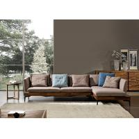 Wholesale Walnut Ash Wood Modern Leather And Fabric Sofa Solid Structure For Home / Lobby from china suppliers