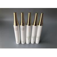 China Pearl White Plastic Tube , Golden Hot Stamping Gloss Coating Plastic Lotion Tubes SK-II Cap for sale