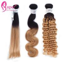 Wholesale 12 Inch Russian Deep Wave Blonde Ombre In Brown Hair Bundle Extensions from china suppliers
