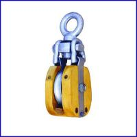 China B041 Wooden Shell Snatch Block With Eye Self-Locking, self-lock snatch block with eye for sale