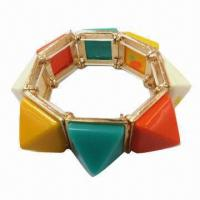 Wholesale Fashion Stretch Bangle with Multicolor Resin Stones from china suppliers
