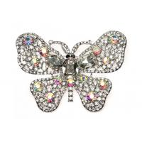 China Silver Plated Fashion Crystal Bridal Jewelry Butterfly Crystal Brooches  B8804513 on sale