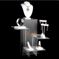 Wholesale Elegant Four Tier White Acrylic Display Stand , Retail Jewellery Display Stands Frost Platform Riser from china suppliers