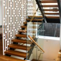 Wholesale Beautiful Modern Design Double Cantilevered Steel Wood Stringer Glass Staircase from china suppliers