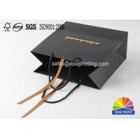 Wholesale Ribbon Decoration Luxury Black Gift Paper Bags With Logo Hot Gold Stamping from china suppliers