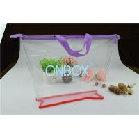 Wholesale Ladies Cosmetics High Clear PVC Bag / Carrying Bag With Purple Zipper Closure from china suppliers