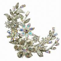 Wholesale Colorful Resin Stones Brooch, Decorated with Shiny Diamonds from china suppliers