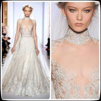 Wholesale 2014 Vintage Zuhair Murad Plus Size Designer Wedding Gowns High Neck Lace A Line from china suppliers