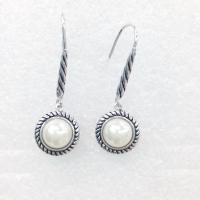 Wholesale (E-36) Fashion Women's Jewelry Silver Plated Round White Pearl Dangle Earrings from china suppliers