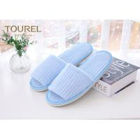 Wholesale Fresh Blue Coral Fleece Disposable Hotel Slippers Open Toe Customised Size from china suppliers