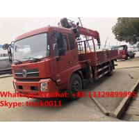 China hot sale best price dongfeng tianjin 4*2 Euro 5 180hp truck with crane, factory sale telescopic boom mounted on truck for sale