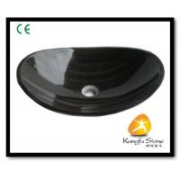 Xiamen Kungfu Stone Ltd supply Black Wooden Marble Vessel Basin For Indoor Kitchen,Bathroom for sale