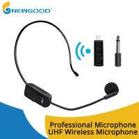 Wholesale UHF Wireless Stereo Receiver Usb Microphone MIC Unidirectional Condenser Microphone Headband Sound Digital Rechargeable from china suppliers