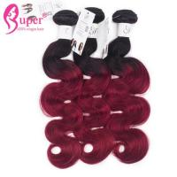 Neat Blonde Ombre Hair Extensions , Black To Red Ombre Color Wefts With Afro Short Hair Woman UK for sale