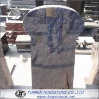 Light Grey Granite Tombstone with Black Lines, European Style Granite Monuments for sale