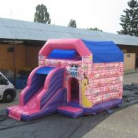 Wholesale Pink Waterproof Princess Combo Bounce House With Single Slide from china suppliers