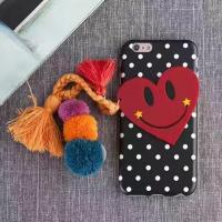 China Soft TPU Love Smile Style Hair Ball Wool Tassels Wave Point Horizontal Stripes Cell Phone Case For iPhone 7 Plus 6s for sale