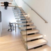 Wholesale Modern Style Indoor Single Stringer Straight Steel Solid Wood Staircase from china suppliers