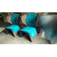 China Blue Cassina Gender Fiberglass Arm Chair With Coloured Leather Edge on sale