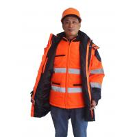 Buy cheap 5 In 1 Hi Vis Winter Work Jackets , Winter Safety Jackets Reflective With PU Waterproof from wholesalers