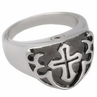 Buy cheap Silver Color Men Cremation URN Jewelry Jesus Christ Cross Rings from wholesalers