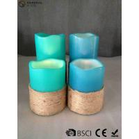 Wholesale Multi Colored Led Pillar Candles With Hemp Rope Home Decoration from china suppliers