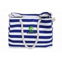 China Large Capacity Canvas Striped Bag , Heavy Duty Ladies Beach Bag OEM Accepted for sale