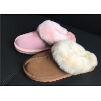 Wholesale 100% Sheepskin Slippers Ladies Shoes Chestnut EVA Soft Sole Suede Leather Slipper from china suppliers