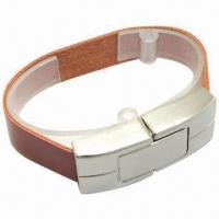 Wholesale Popular Leather Bracelet USB Flash Drive, 128MB to 500GB Capacity from china suppliers
