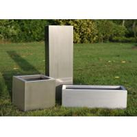 Wholesale Brushed Stainless Steel Square Planters , Stainless Steel Flower Box 30-120cm Height from china suppliers