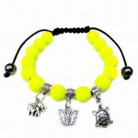 Wholesale Neon Beaded Cotton Cord Bracelet with Anti-silver Accessories from china suppliers